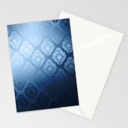 """Navy blue Damask Pattern"" Stationery Cards"