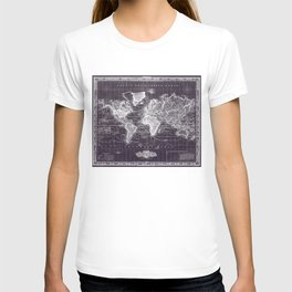 Vintage Map of The World (1833) Purple & White  T-shirt
