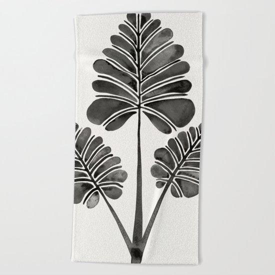 Tropical Palm Leaf Trifecta – Black Palette Beach Towel