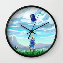 zelda and flying tardis Wall Clock