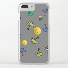 cats and smiled faces pattern Clear iPhone Case