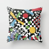 tape Throw Pillows featuring Ticker Tape by Patricia Shea Designs