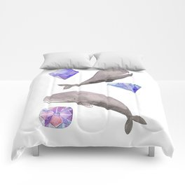Whales and diamonds Comforters