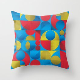 Modern Primary Geometric Pattern Throw Pillow