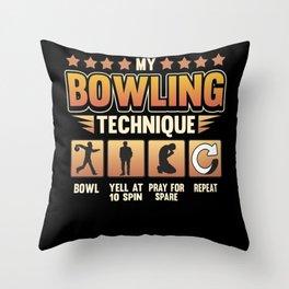 Funny Bowling Bowler Skittles Strike Saying Gift Throw Pillow