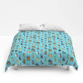 Science cats. History of great discoveries. Schrödinger cat, Einstein. Physics, chemistry etc Comforters