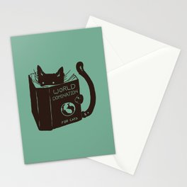 World Domination for Cats (Green) Stationery Cards