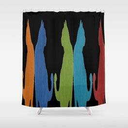 Reflected Images Of A Line Of Cats on Black Shower Curtain