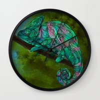 chameleon Wall Clocks featuring Chameleon by Ben Geiger