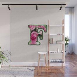 Letter F Rose Monogram Wall Mural