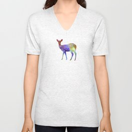 Female Deer 02 in watercolor Unisex V-Neck