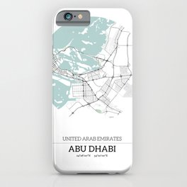Abu Dhabi City Map with GPS Coordinates iPhone Case
