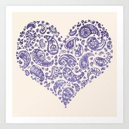 Purple Brocade Paisley Heart Art Print