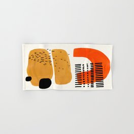 Mid Century Modern Abstract Minimalist Retro Vintage Style Fun Playful Ochre Yellow Ochre Orange Sha Hand & Bath Towel