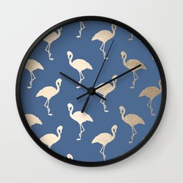 Gold Flamingo on Aegean Blue Wall Clock