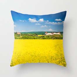 Rape flower field in Transylvania Throw Pillow