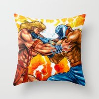 muscle Throw Pillows featuring Muscle Bomber by VGPrints