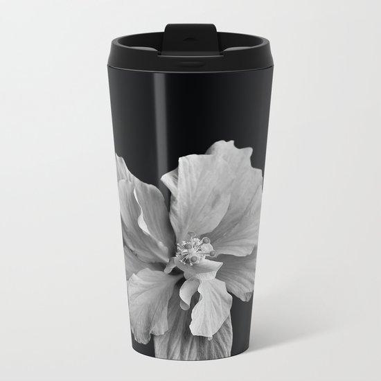 Hibiscus Drama Study - Black & White High Impact Photography Metal Travel Mug