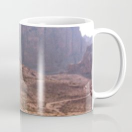 Middle Eastern Landscape | Man Walking in the Distance of the Red Cliffs Exotic Desert Coffee Mug