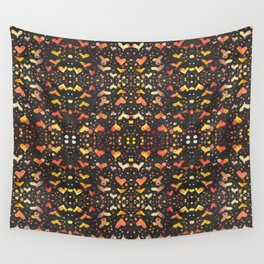 Dotted Heart - shape and mirrored pattern - watercolor digital edit Wall Tapestry