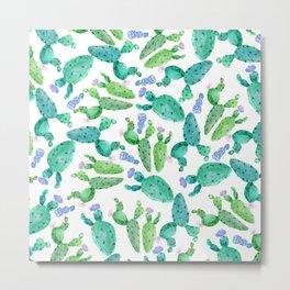 Watercolor hand painted violet green cactus floral Metal Print