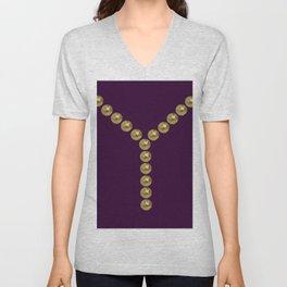 gold and violet details fashion vintage piece Unisex V-Neck