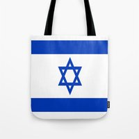 israel Tote Bags featuring Flag of Israel by Neville Hawkins