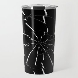 Abstract Spider Web, Black and White Lines, Spiral, Mandala, Broken Glass Travel Mug