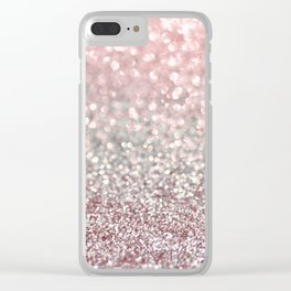 Girly Pink Snowfall Clear iPhone Case