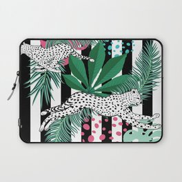 Vintage animalistic design with running cheetah over stripes Laptop Sleeve