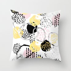 Amalia - gold abstract black and white glitter foil art print texture ink brushstroke modern minimal Throw Pillow