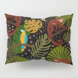 Jungle Pattern with Monkeys, Macaws and colorful Dart Frogs Pillow Sham