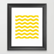 Wavy Stripes (Gold/White) Framed Art Print
