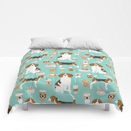 Beagle coffee print cute dog beagles coffees lattes Comforters