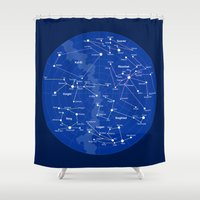 superheroes Shower Curtains featuring Superheroes Constellations by tuditees