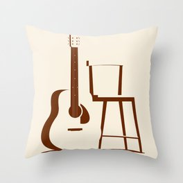 Guitar and Chair Throw Pillow