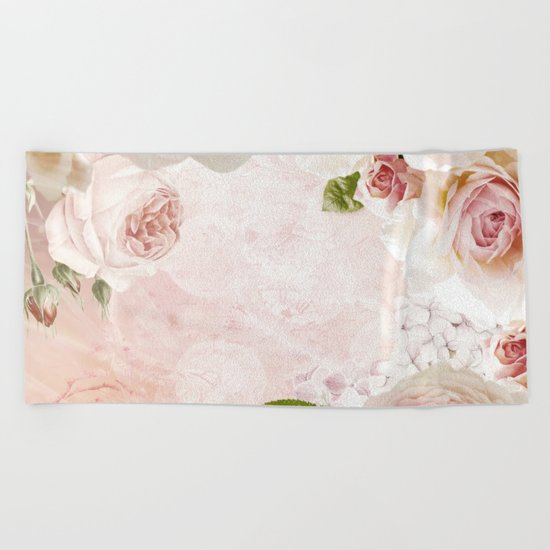 Vintage Flower Pink English Roses Collage Beach Towel