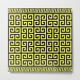 Greek Key (Black & Light Yellow Pattern) Metal Print
