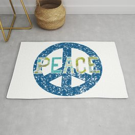 Peace Mixed Media Textile Graphic Design Rug