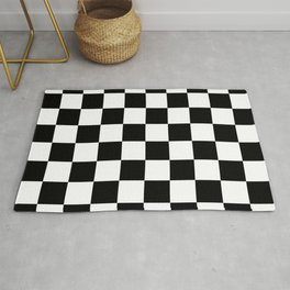 Black & White Checker Checkerboard Checkers Rug