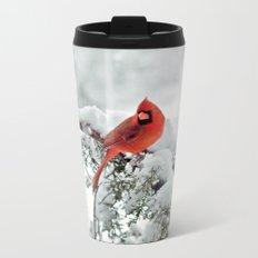 Cardinal on Snowy Branch #2 Metal Travel Mug