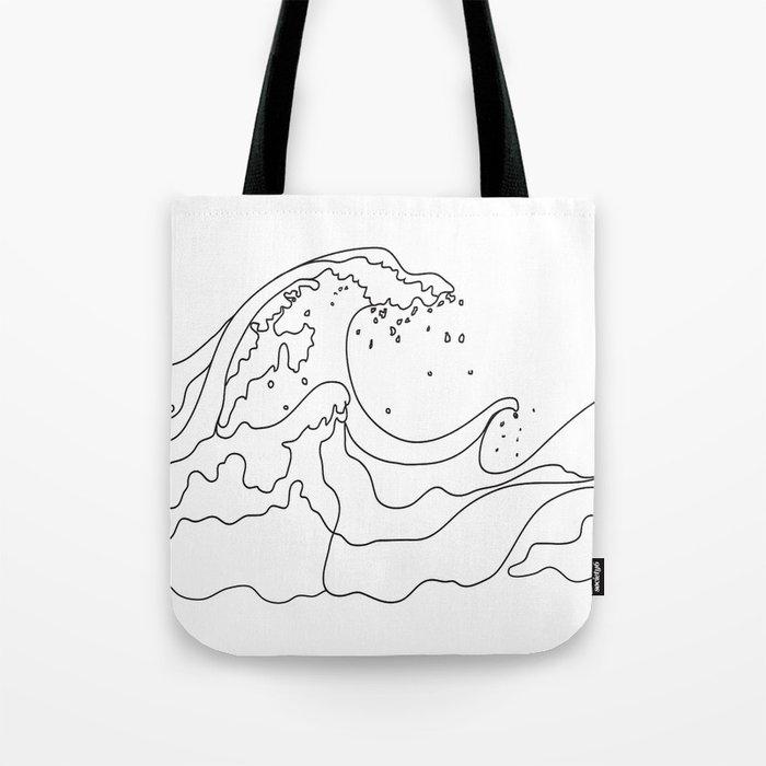 Minimal Line Art Ocean Waves Tote Bag