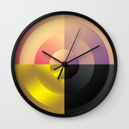 Minimal Circle Four Color Pink Purple Gold Black Wall Clock