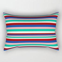Colored Stripes - Dark Red Blue Rose Teal Cream Rectangular Pillow