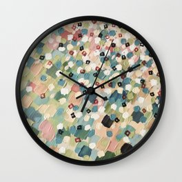 SWEPT AWAY 4 - Lovely Shabby Chic Soft Pink Ocean Waves Mermaid Splash Abstract Acrylic Painting Wall Clock