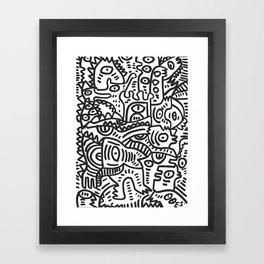 Black and White Street Art Graffiti King's Party Framed Art Print