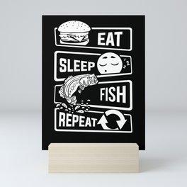Eat Sleep Fish Repeat - Fishing Fisherman Mini Art Print