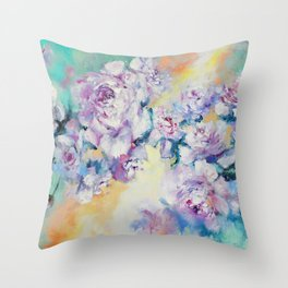 Peonies flowers Throw Pillow