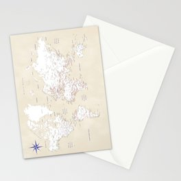 "Cream, white, red and navy blue world map, ""Deuce"" Stationery Cards"