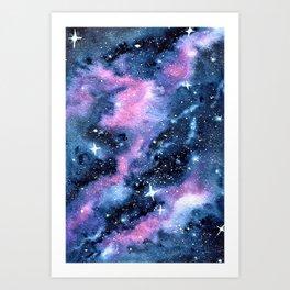 Twinkling Pink Watercolor Galaxy Art Print